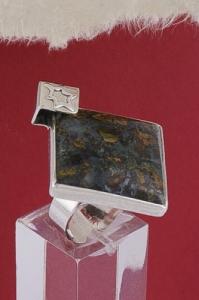 Сребърен пръстен RKWS33 - Мъхов ахат Орфей