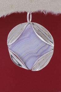 Сребърен медальон PKWS35 - Ивичест ахат