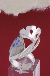 """Сребърен пръстен RKWS38 - """"Блулейс"""" ахат"""