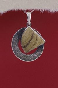 Сребърен медальон PKWS39 - Ландшафт яспис