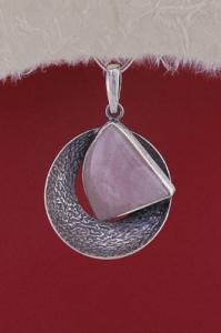 Сребърен медальон PKWS39 - Розов кварц
