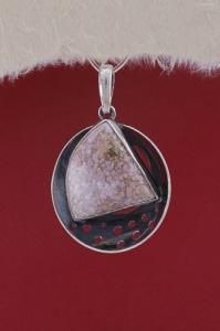 Сребърен медальон PKWS40 - Розов Мъхов Ахат