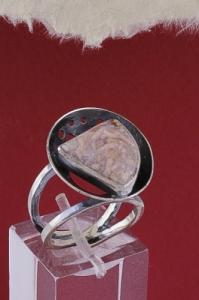 Сребърен пръстен RKWS40 - Розов Мъхов Ахат