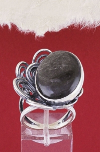 Сребърен пръстен RKWS42 - Сребрист обсидиан