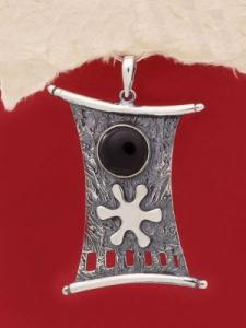 Сребърен медальон PKWS50 - Оникс
