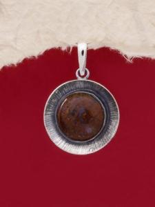 Сребърен медальон PKWS27 - Мъхов ахат