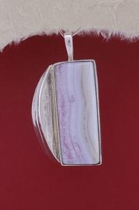 Сребърен медальон PKWS47 - Ивичест ахат