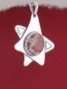 Сребърен медальон PKWS7 - Брекча яспис
