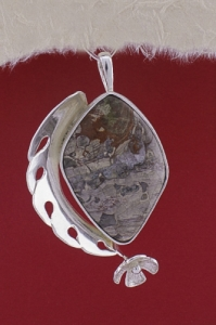 Сребърен медальон EKWS55 - Пейзажен яспис
