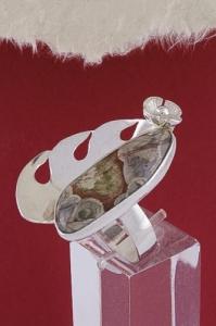 Сребърен пръстен RKWS55 - Пейзажен яспис