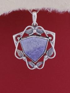 Сребърен медальон P169 - Син кварц