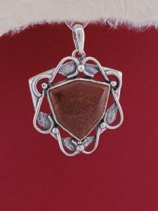 Сребърен медальон P169 - Червен яспис