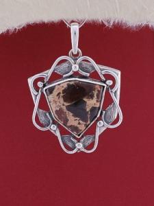Сребърен медальон P169 - Пейзажен яспис