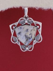 Сребърен медальон P169 -Дендрит ахат