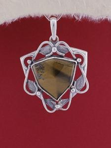 Сребърен медальон P169 - Тигрово око