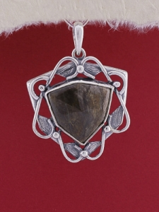 Сребърен медальон P169 - Ахатизирано дърво