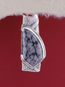 Сребърен медальон PK157 - Снежинков обсидиан