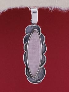 Сребърен медальон PWS1 - Розов кварц