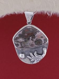 Сребърен медальон PWS8 - Леопардов яспис