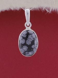 Сребърен медальон PWS24 - Снежинков обсидиан