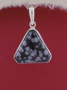 Сребърен медальон PWS18 - Снежинков обсидиан