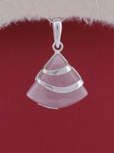 Сребърен медальон PK130 - Розов кварц
