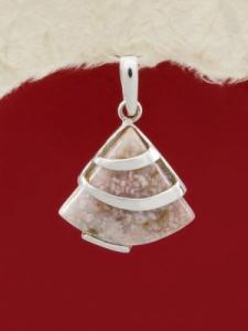 Сребърен медальон PK130 - Розов мъхов ахат