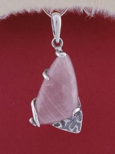 Сребърен медальон PK92 - Розов кварц