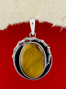 Сребърен медальон - PKWS98 - ТИГРОВО ОКО