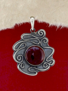 Сребърен медальон - PK368 - Червен Яспис