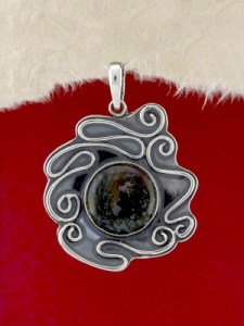 Сребърен медальон - PK368 - Мъхов Ахат