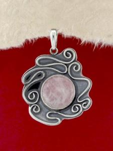 Сребърен медальон - PK368 - Розов кварц