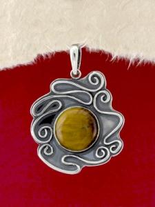 Сребърен медальон - PK368 - Тигрово Око