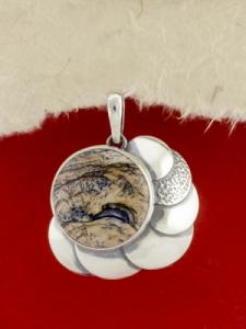 Сребърен медальон - PKWS44 - Ландшафт яспис