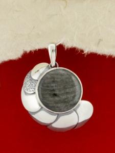 Сребърен медальон - PKWS44 - Сребрист Обсидиан