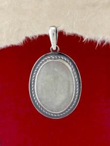 Сребърен медальон - PKWS53 - Бял Авантюрин