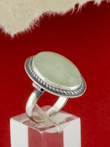 Сребърен пръстен - RKWS53 - Бял Авантюрин