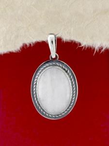 Сребърен медальон - PKWS53 - Млечен кварц