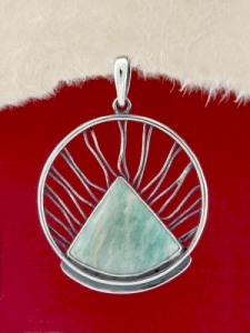 Сребърен медальон - PKWS59 - Амазонит