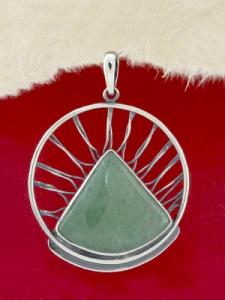Сребърен медальон - PKWS59 - Авантюрин