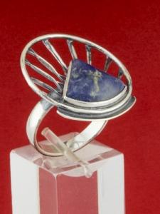 Сребърен пръстен - RKWS59 - Син Кварц