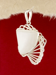 Сребърен медальон - PKWS60 - Млечен Кварц