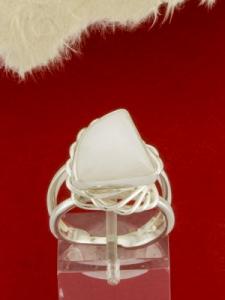 Сребърен пръстен - RKWS60 - Млечен Кварц