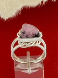 Сребърен пръстен - RKWS60 - Родонит