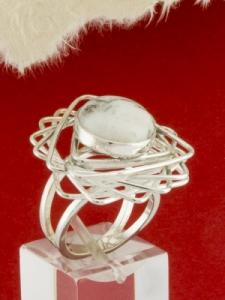Сребърен пръстен - RKWS61 - Дендрит Ахат