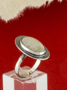 Сребърен пръстен - RKWS62 - Бял Авантюрин