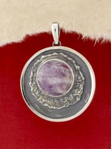 Сребърен медальон - PKWS63 - Аметист