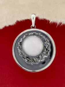 Сребърен медальон - PKWS63 - Млечен Кварц