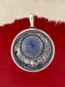 Сребърен медальон - PKWS63 - Син Кварц