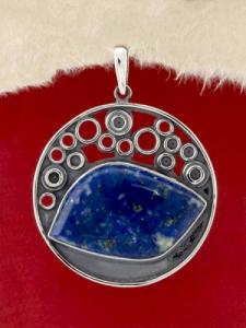 Сребърен медальон - PKWS64 - Лазурит
